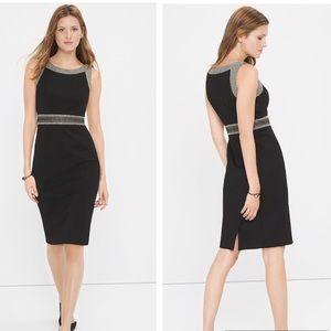 WHBM Tweed Combo Sheath Black Dress Sz 4